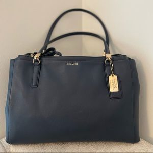 Coach Madison Carryall in Navy Saffiano Leather